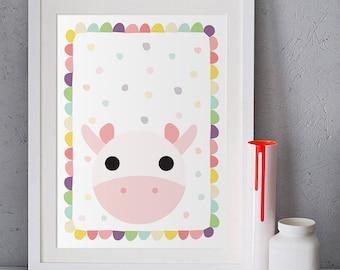 Cow poster, Baby room decor, Children illustration, Kids wall art, Cow painting, Pastel pink, Nursery wall art animals, girl nursery prints