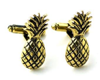 Pineapple Cufflinks  -k148 Free Gift Box