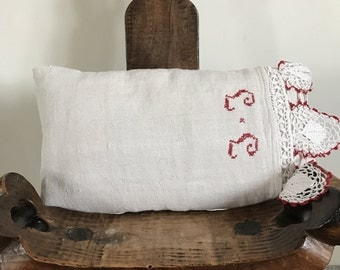 Handmade vintage Italian linen cushion , initials J J  , complete with feather inner 47 cm x 27 cm