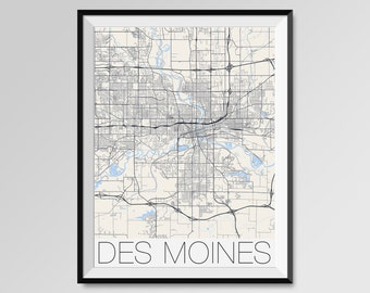 DES MOINES City Map Print, Modern City Poster, Iowa, Black and White Minimal Wall Art for the Home Decor,custom city maps