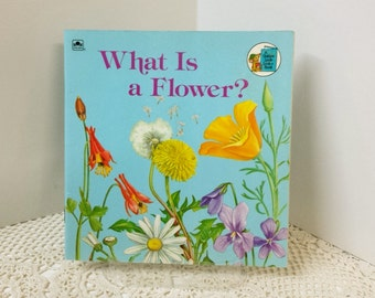 Vintage Little Golden Book, Look Look Book, Flower Picture Book, Illustrated Flowers Book, What is a flower, Home School Art Resource book