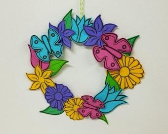 Spring Flower Wreath Printable, Instant Download Papercraft, Office Décor, Seasonal Wreath, Paper Flowers, Home Décor, Paper Craft Activity