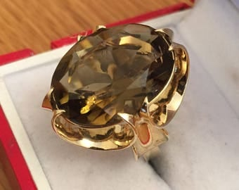 Fabulous huge vintage 9ct gold Smokey Quartz statement ring - 1975