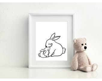 Mummy Rabbit Print