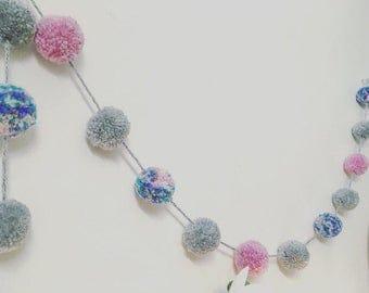 Pompom pastel garland, children's room decor, pink and grey, party decor, girls room decor, pompom bunting, pastel colour nursery decor