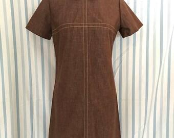 60s Vintage Brown Collared Mod Dress Sears Medium
