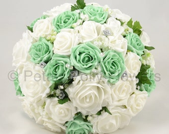 Artificial Wedding Flowers, Mint Green & White Brides Bouquet Posy