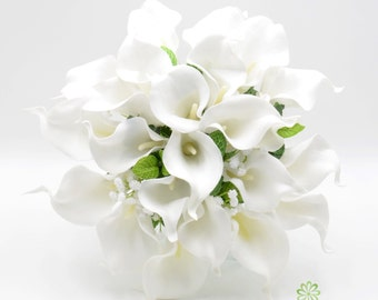 Artificial Wedding Flowers, White Calla Lily Brides Bouquet Posy