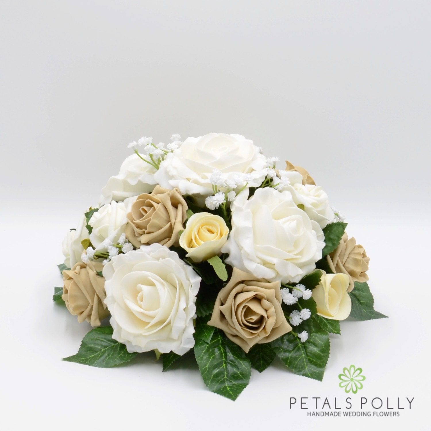 Silk Wedding Flowers Cappuccino Ivory Rose Table Centre