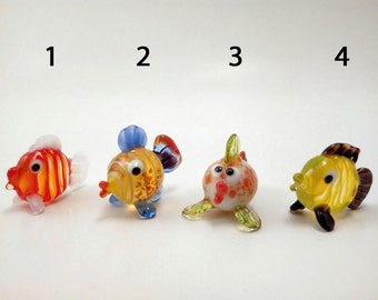 Glass Fish, Hand-Blown Figurine, Art Glass Blown, Sculpture Made Of Glass ,Glass Art Figurines fish , glass lampwork,little fish figurines