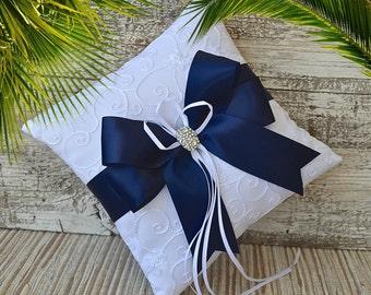 YOUR COLOR-Wedding Ring Bearer Pillow, Navy Blue - Satin Ribbon Bow, Ring Bearer Pillow