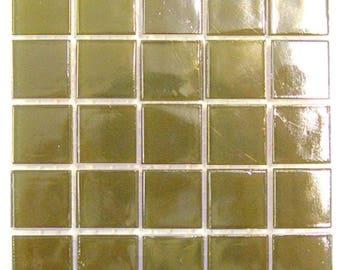 "Beige Iridescent Glass Tiles 9/16"""