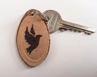 Personalised pyrography valentines tree branch keyring, rustic love bird burnt dove keychain, custom valentines day gift, engagement gift
