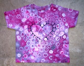 Hand Dyed T-Shirt - Childrens Size 2T  - Rose pink and white -The Heart Circles Tie-dye