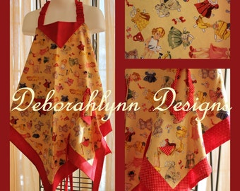 Girls Apron, Paper Dolls, Matching Doll Apron, Mommy's Kitchen Helper, Daughter Apron