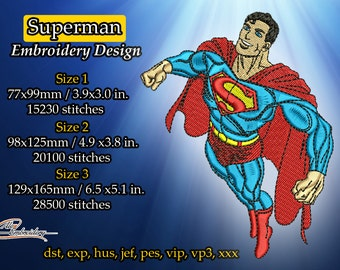 Superman embroidery design. 3 sizes. 8 embroidery formats.