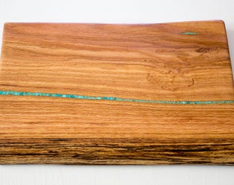 Live edge cutting board/ serving tray with Turquoise inlay