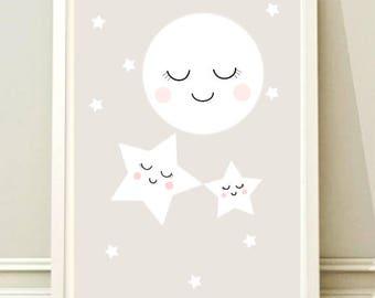 Nursery Wall Art Print, Kids Art Print, Printable Nursery Print, Printable Nursery Poster, Star moon poster, Kids room,Instant download