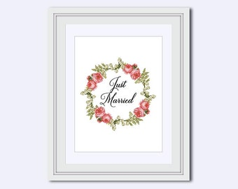 Just Married - pink roses - printable art - Wedding printable - instant download - DIY printable - wedding art - wedding sign - pdf