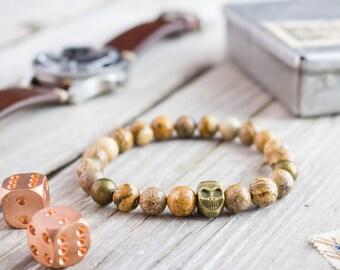 8mm - Jasper stone beaded stretchy bronze skull bracelet, custom made gemstone bracelet, mens bracelet, womens bracelet, bead bracelet