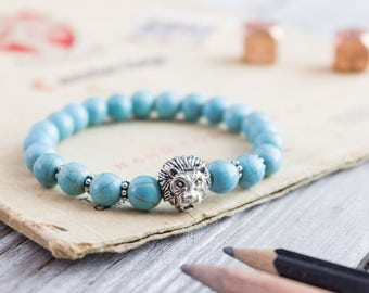 8mm - Turquoise beaded silver Lion head stretchy bracelet, made to order yoga bracelet, mens bracelet, womens bracelet, bead bracelet