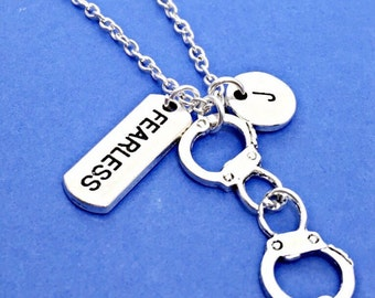 No Fear, Silver fearless necklace, fearlessness charm,be Fearless Jewelry,Fearless Charm Pendant,corrections officer, police gift, handcuffs