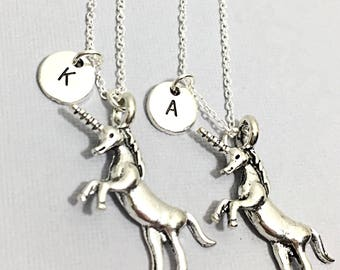 Unicorn Gift, Unicorn Charm Necklace Jewelry, Matching Best Friend, Custom Unicorn, Gift for Best Friend, custom initial,2 bff, unicorn gift