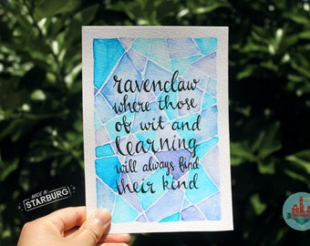 Watercolour Painting - Ravenclaw / Blue, Geometric, Harry Potter + Sorting Hat Quote