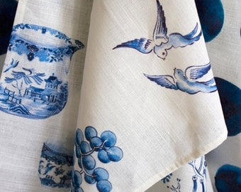 Willow tea towels double pack. Willow Plates and Blue Willow Pattern. Blue and white. Linen and cotton. Gift pack. Original illustrated art