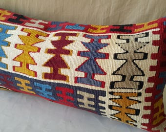 "Kilim Pillow, 12""×24""İnches, Lumbar Kilim Pillow, Cushion Cover, Pillow Cover, Throw Pillow, Tribal, Turkish, Anatolian, Bohemian, Moroccan"