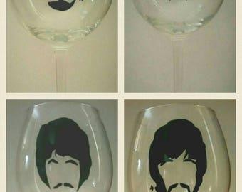 The Beatles wine glass - set of wine glasses - pint mug - tumbler ' John Lennon - Paul McCartney - George Harrison - Ringo Starr - Beatles