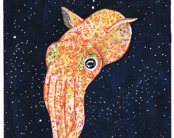 Space Cephalopod - Squid Original Art Prints (A5)