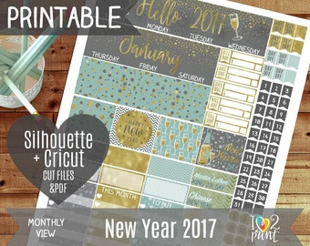 New Year Monthly View Stickers, Printable Planner, EC 2017 Watercolor Stickers, Winter Bear ...