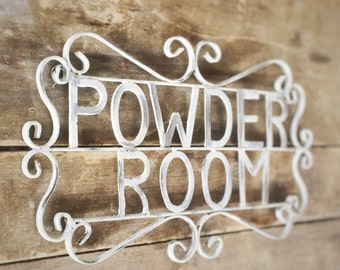 Metal distressed Powder Room Sign Wall Decor Bath