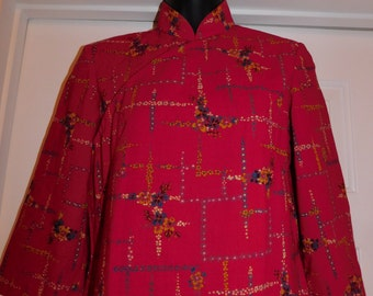 Vintage Asian red dress handmade