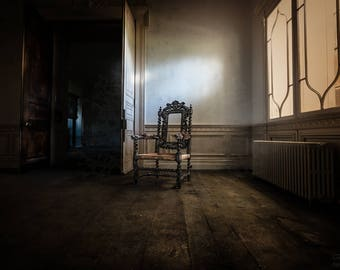 Abandoned Chair, Mansion, Heritage, Beauty, Fine Art Print, Urbex, Urban Exploration Fine Art Photography, Home or Office Furniture Decor