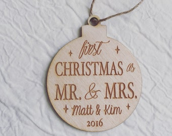 Personalized Newlywed Mr & Mrs Ornament Custom Name Engraved