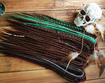 Crochet wool double ended dreadlocks DE dreads dark brown green burgundy gray black