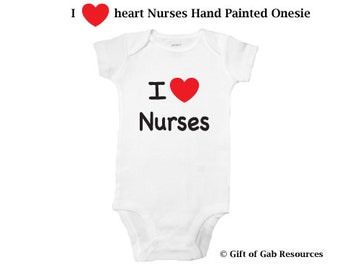 I heart Nurses hand painted onesie, iheart, Therapist, OT, PT,  heart, teachers, nurses, doctors, special education