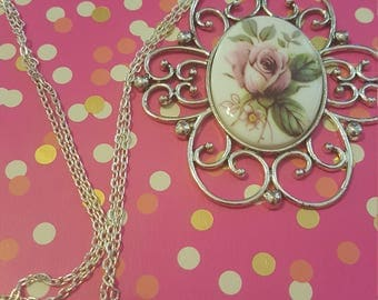 Pink Flower Cameo Pendant Necklace