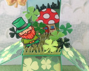 Unique Pop-Up St. Patrick's Day Card, Handmade Saint Patrick's Day Card in a box, Leprechaun, Shamrock, Irish, Fun for Kids and Adults