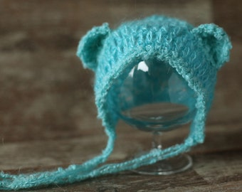 Newborn bear hat, Baby bonnett, Photo prop, Photography, Knitted hat, Beanie, Shower gift