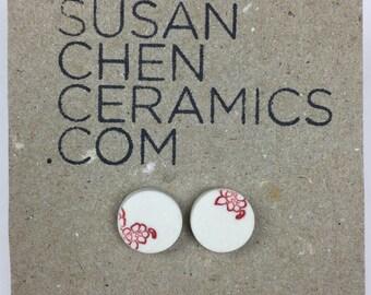 Floral porcelain stud earrings