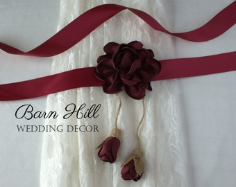 Wedding Dress Sash, Bridal Sash, Wedding Belt, Satin Sash, Burgundy Sash
