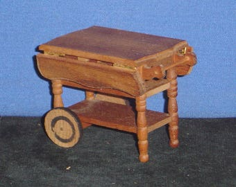 "Reevesline Doll House: Wooden Serving Cart (2 1/4""x3""x3"") - pre-owned"