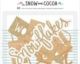 American Crafts Crate Paper Snow and Cocoa Collection Scrapbook Winter Die Cut Pieces