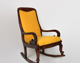 Victorian Mahogany Rocking Chair fully restored and upholstered in Harris Tweed