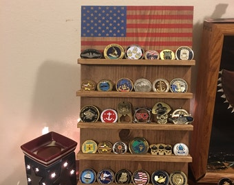American Flag Wall Mounted Challenge Coin Rack, Military Coin Holder Display, Holder, Americana, Patriotic, Navy, Marines, Air Force, Army,