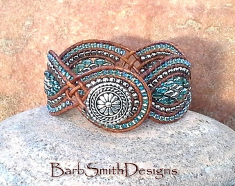 Blue Turquoise Aqua Silver Beaded Leather Cuff Wrap Bracelet - The Twisted Sister in Silver n' Celsian - Customize It!