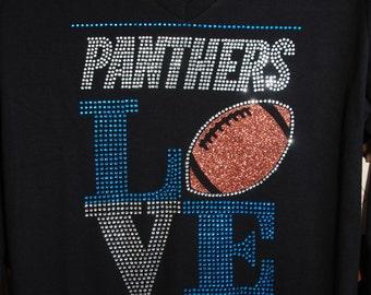 Panthers Love rhinestone glitter bling shirt,  all sizes XS, S, M, L, XL, XXL, 1X, 2X, 3X, 4X, 5X